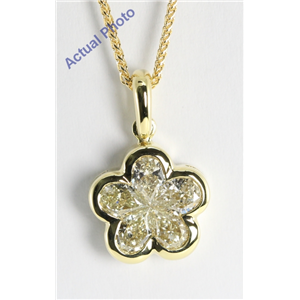 18k Yellow Gold Invisible Setting Pear Cut Diamond Flower Pendant (1.08 Ct, M-N Color, VS Clarity)