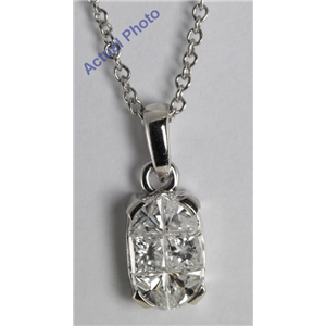 18k White Gold Invisible Setting Princess Cut Diamond Oval Shaped Pendant (0.82 Ct, G Color, VS2 Clarity)