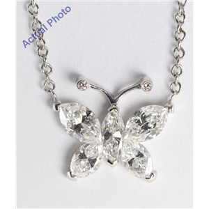18k White Gold Invisible Setting Marquise Cut Diamond Butterfly Pendant (1.17 Ct, G Color, SI Clarity)