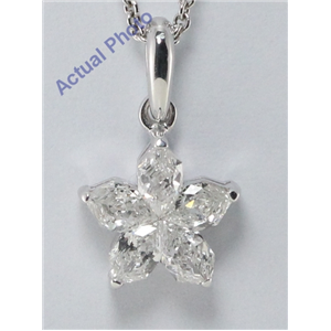 18k White-Gold Pear Cut Invisible setting Diamond Flower Pendant (0.61 Ct, F Color, VS-SI1 Clarity)
