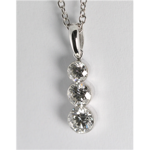 18k White Gold Three Stone Invisible Setting Round Cut Diamond Pendant (0.72 Ct, G Color, VS Clarity)