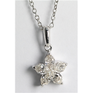 18k White Gold Invisible Setting Pear Cut Diamond Flower Pendant (0.63 Ct, H Color, SI1 Clarity)