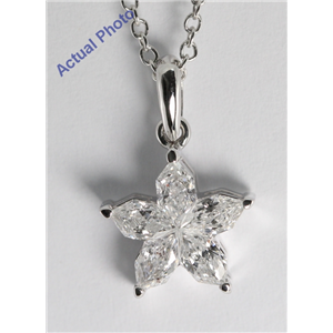 18k White Gold Invisible Setting Pear Cut Diamond Flower Pendant (0.89 Ct, G Color, I1 Clarity)