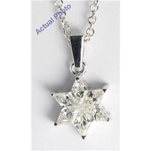 18k White Gold Invisible Setting Kite Cut Star of David Diamond Pendant (0.57 Ct, I Color, SI1 Clarity)