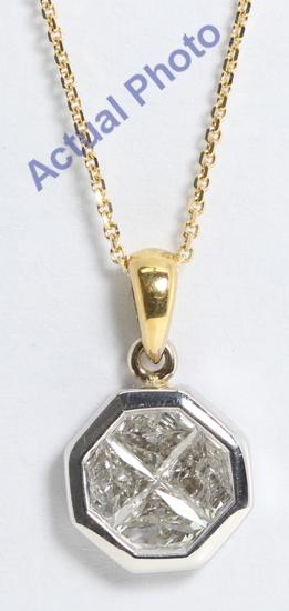 18k two tone diamond shape invisible setting diamond pendant 08 ct 18k two tone diamond shape invisible setting diamond pendant 08 ct i color vs2 clarity mozeypictures Images