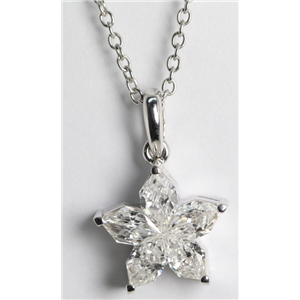 18k White Gold Invisible Setting Pear Cut Diamond Flower Pendant (1.12 Ct, F Color, VS Clarity)