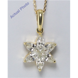 18k Yellow Gold Kite Cut Invisible setting Marquise Diamond Flower Pendant (0.65 Ct, IJ Color, SI3 Clarity)