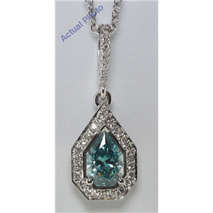 18k White-Gold Round & 0 Cut Diamond Pear Diamonds & Diamonds Pendant (Blue & White Diamonds, VS Clarity)(Clarity Enhanced)