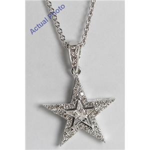 18k White Gold Kite Cut Diamond Invisible Setting Star & Pave Pendant (0.35 Ct, G Color, VS Clarity)
