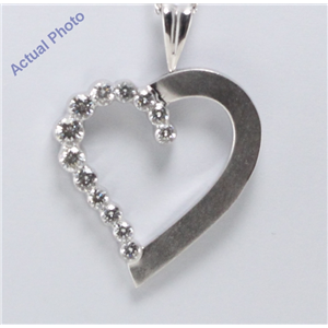 18k White-Gold Rounds Cut Invisible Setting Round diamond Heart pendant (1.01 Ct, G Color, VS Clarity)