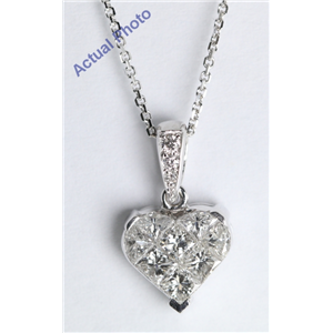 18k White Gold Princess Cut Diamond Invisible Setting Heart Pendant (0.58 Ct, G-H Color, VS Clarity)