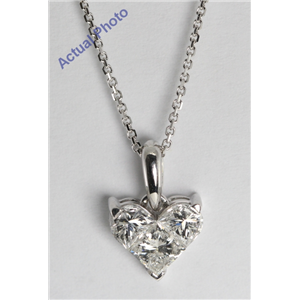 18k White Gold Three Stone Princess Cut Invisible Setting Diamond Heart Pendant (0.92 Ct, G Color, SI2 Clarity)