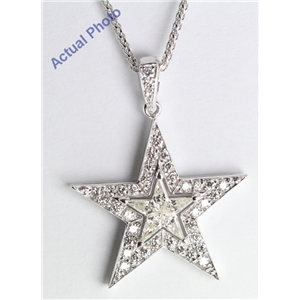 18k White Gold Kite Cut Diamond Invisible Setting Star & Pave Pendant (0.6 Ct, H Color, SI2 Clarity)