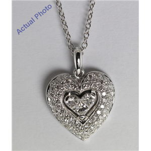 18k White Gold Invisible Setting Princess and Round Cut Diamond Heart Pendant (1 Ct, G Color, SI3 Clarity)