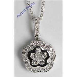18k White Gold Invisible Setting Pear and Round Cut Diamond Flower Pendant (0.82 Ct, G Color, VS Clarity)