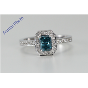 18k White Gold Radiant & Round Cut Diamond Engagement Ring (1.01 Ct, Blue (Color Irradiated) & White Diamonds, VS Clarity)