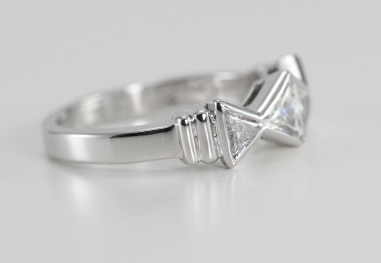 18k White Gold Triangle Cut Diamond Bezel Setting Wedding Band 076 Ct G Color VS Clarity