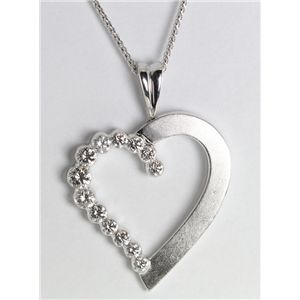 18k White Gold Invisible Setting Round cut diamond Heart pendant (1.01 Ct, G Color, VS Clarity)