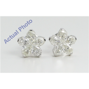 18k White Gold Pear Cut Invisible Setting Diamond Flower Earrings (1.63 Ct, H Color, VS-SI Clarity)