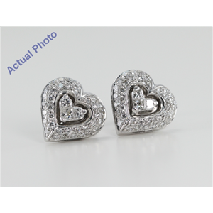 18k White Gold Invisible Setting Princess & Round Cut Diamond Heart Earrings (0.75 Ct, H Color, SI2 Clarity)