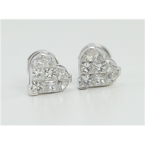 18k White Gold Invisible Setting Princess Cut Diamond Heart Earrings (1.5 Ct, G Color, VS Clarity)