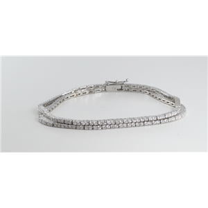 18k White Gold Two Row Round Cut Diamond Tennis Bracelet (2.8 Ct, G Color, VS1 Clarity)