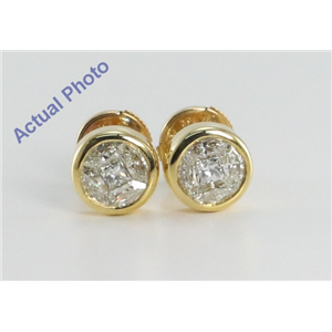 18k Yellow Gold Invisible Setting Princess & Marquise Cut Diamond Earrings (1.08 Ct, I-J Color, VS Clarity)