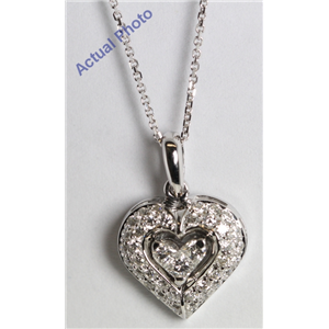 18k White Gold Invisible Setting Princess & Round Cut Diamond Heart Pendant (0.37 Ct, G Color, SI1 Clarity)