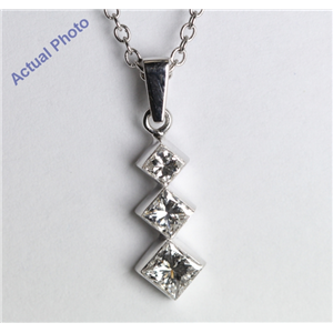 18k White Gold Invisible Setting Three Stone Princess Cut Diamond Pendant (0.5 Ct, H Color, SI1 Clarity)