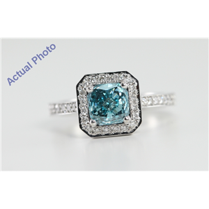 18k White Gold Radiant Cut Diamond Engagement Ring (1.15 Ct, Blue (Color Irradiated) & White Diamonds, VS Clarity)