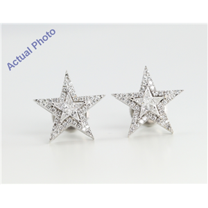 18k White Gold Kite Cut Diamond Invisible Setting Star & Pave Earrings (0.62 Ct, G Color, VS Clarity)