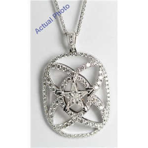 18k White Gold Kite Cut Diamond Invisible Setting Star & Pave Pendant (1.29 Ct, G Color, VS Clarity)