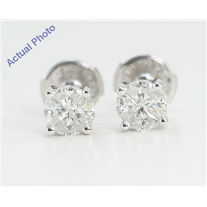 18k White Gold Invisible Setting Princess Cut Diamond Earrings (0.58 Ct, H Color, VS Clarity)