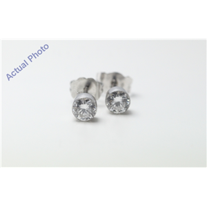 18k White-Gold Round Cut Invisible Setting Diamond Earrings (0.64 Ct, G Color, SI1 Clarity)