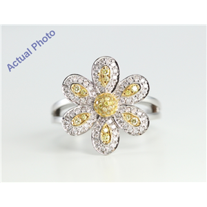 18k White Gold Round Cut Diamond Flower Pave Engagement Ring (0.51 Ct, White and Natural Fancy Yellow Diamonds, SI2 Clarity)