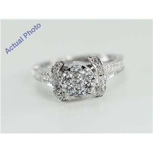 18k White Gold Invisible Setting Round Cut Diamond Engagement Ring (1.3 Ct, G Color, VS1 Clarity)