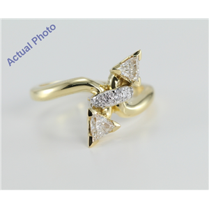 18k Yellow Gold Triangle and Round Cut Diamond Engagement Ring (0.56 Ct, I Color, VS Clarity)