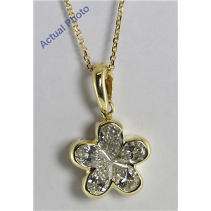 18k Yellow Invisible Setting Pear Cut Diamond Flower Pendant (1.03 Ct, I Color, VS2 Clarity)