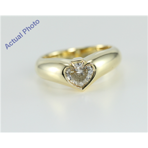 18k Yellow Gold Spade Bezel Solitaire Diamond Engagement Ring (0.78 Ct, H Color, SI1 Clarity)