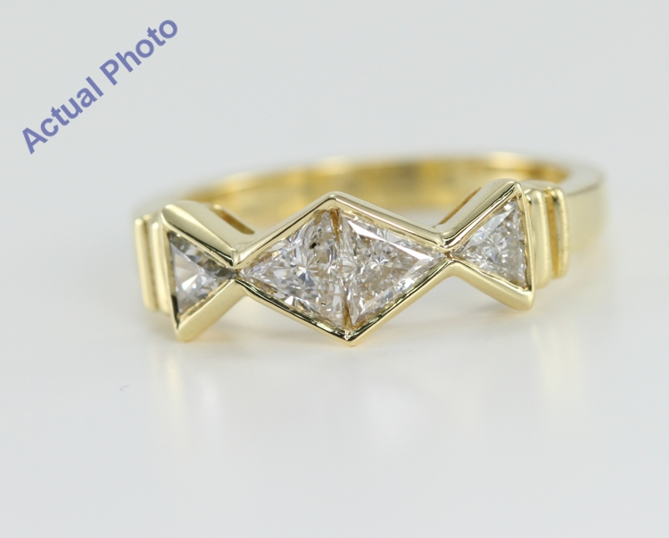 18k White Gold Triangle Cut Diamond Wedding Band 0 72 Ct H Color Si2 Clarity