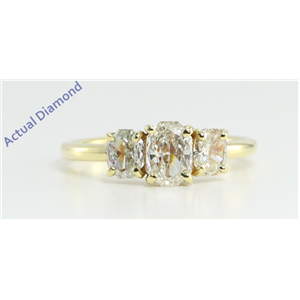 18k Yellow Gold Three Stone Radiant Cut Diamond Engagement Ring (0.98 Ct, J Color, VS Clarity)