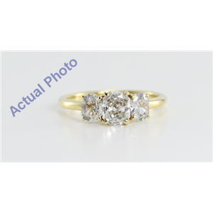 18k Yellow Gold Three Stone Radiant Cut Diamond Engagement Ring (1.15 Ct, H Color, VS Clarity)