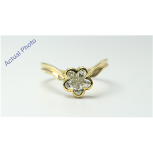 18k Yellow Gold Pear Cut Invisible setting Diamond Flower Ring (0.6 Ct, J Color, VS Clarity)