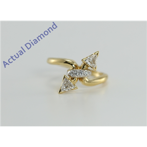 18k Yellow Gold Triangle & Round Cut Two Stone Diamond Engagement Ring (0.57 Ct, I Color, VS Clarity)