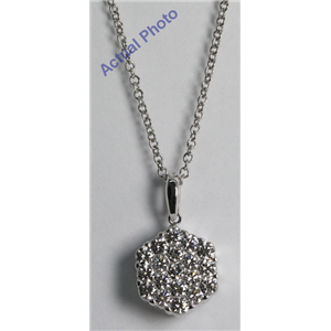 18k White Gold Invisible Setting Round Cut Diamond Hexagon Flower Pendant (1.1 Ct, G Color, VS1 Clarity)