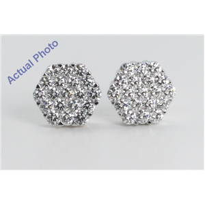 18k White Gold Invisible Setting Round Cut Diamond Hexagon Flower Earrings (2.36 Ct, G Color, VS1 Clarity)
