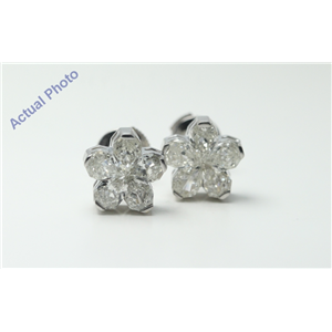 18k White-Gold Pear Cut Invisible setting Diamond Flower Earrings (2.18 Ct, I Color, VS Clarity)