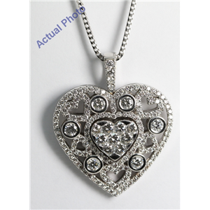18k White Gold Invisible Setting Round Cut Diamond Heart Pendant (2.78 Ct, G Color, VS1 Clarity)