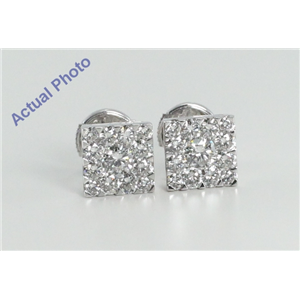 18k White Gold Invisible Setting Round Cut Square Earrings (2.01 Ct, G Color, SI2 Clarity)