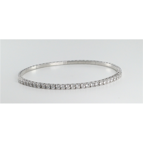 18k White Gold Round Cut Diamond Bangle Bracelet (1.59 Ct, G Color, VS Clarity)